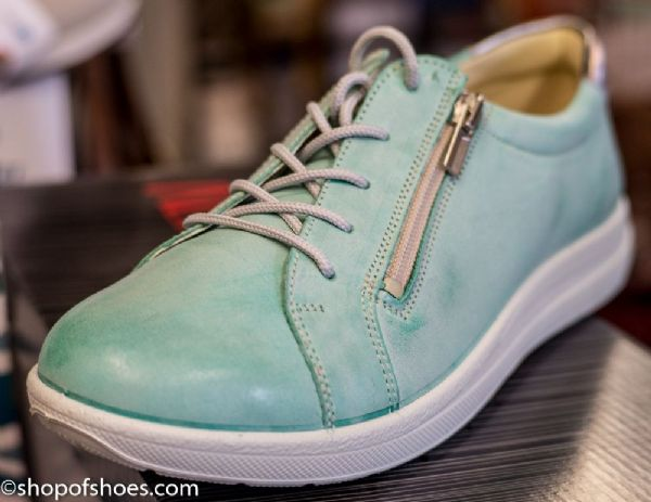 Alpina soft mint leather laced shoe with zipped side for easy access.